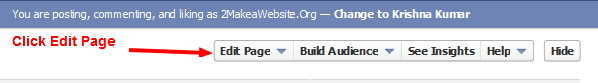 How to Delete Facebook Fan Page - Click Edit Page