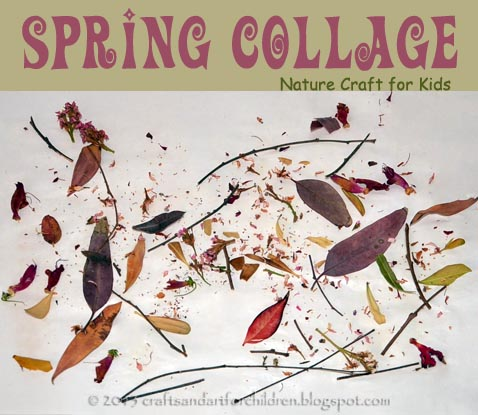 Spring Collage Nature Craft for Kids, toddler nature craft