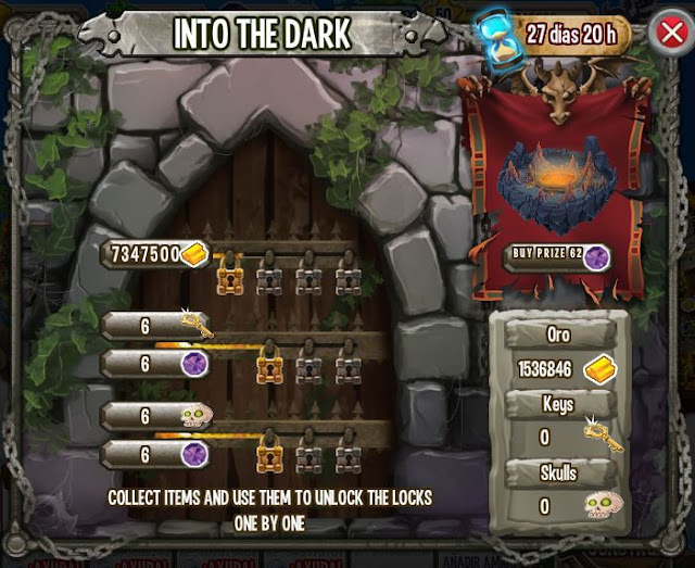 imagen de las tareas y objetos magicos de la isla calabozo de dragon city
