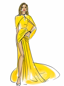Jennifer Lopez Golden Globes Dress Illustration