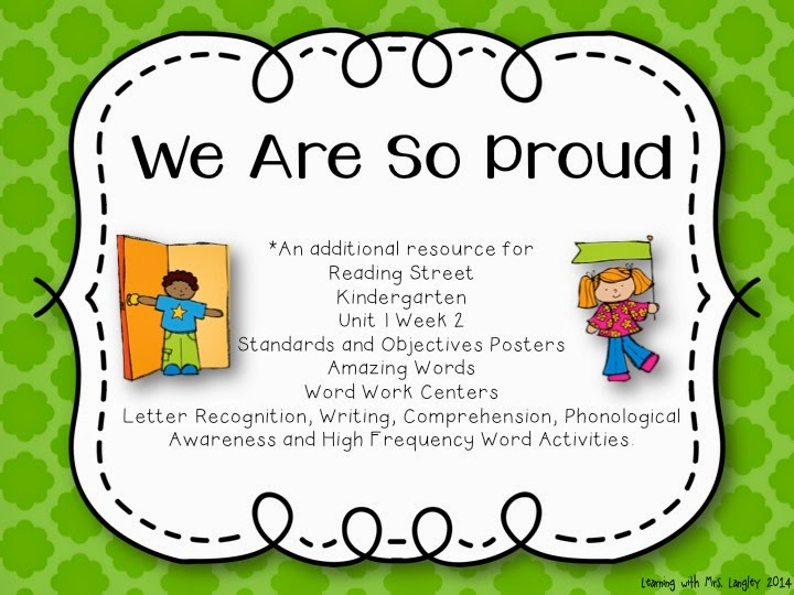http://www.teacherspayteachers.com/Product/We-Are-So-Proud-Kindergarten-Unit-1-Week-2-1224395