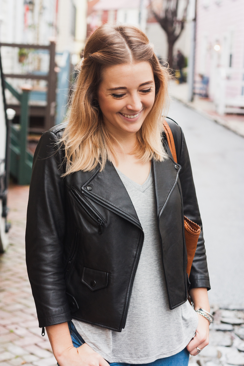 Casual and chic outfit idea in Annapolis, Maryland by Bryn Newman, style blogger of Stone Fox Style. Rebecca Minkoff Leather jacket  and stylish and comfortable boots from Clarks for a easy cool girl off duty look