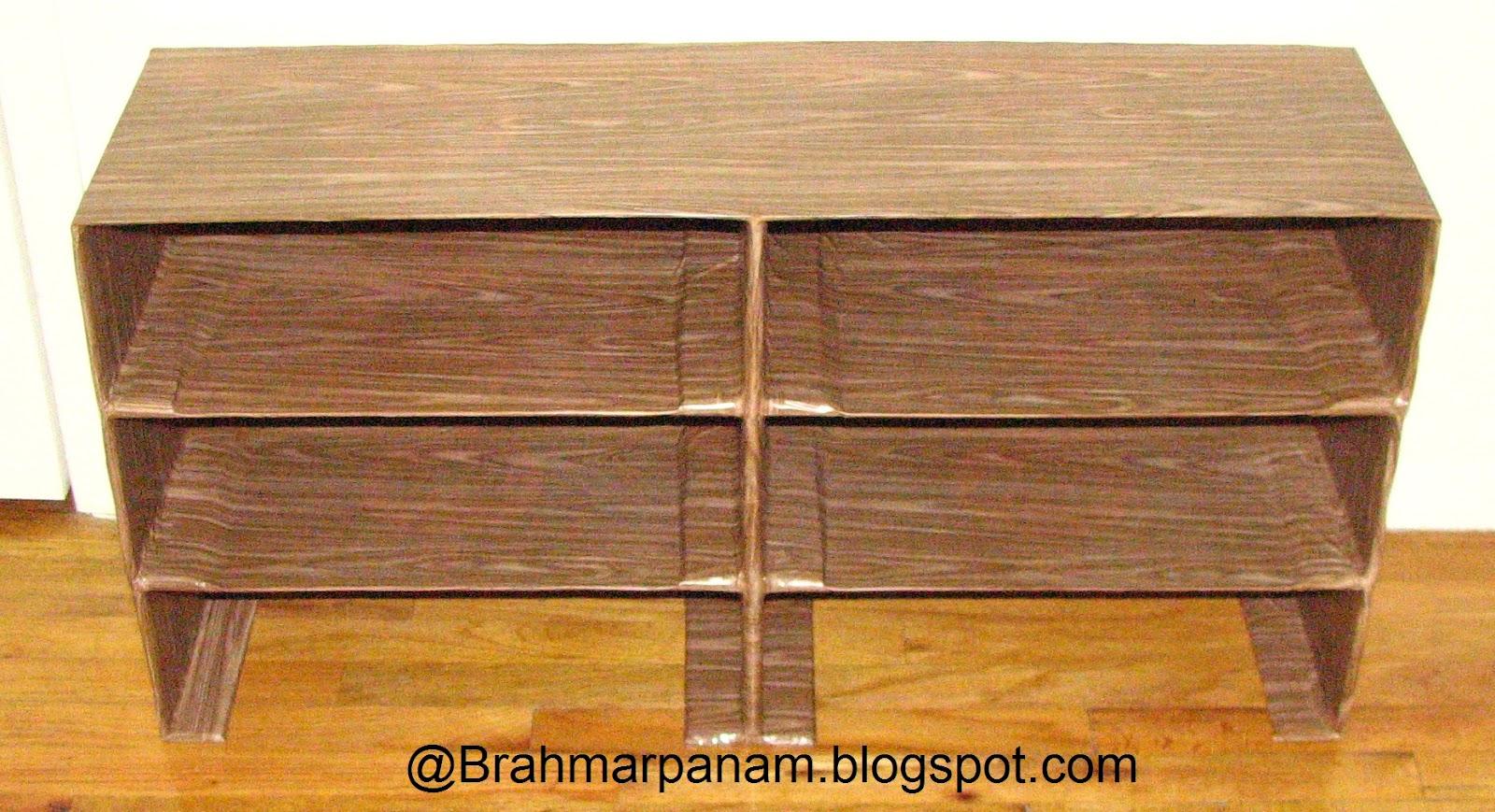 Brahmarpanam make your own cardboard shoe rack for Diy shoe storage with cardboard