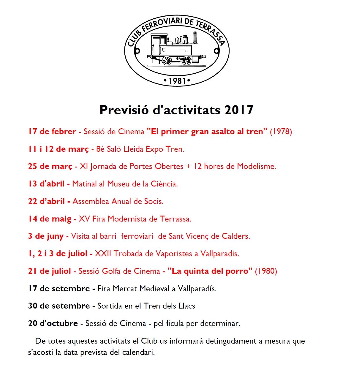 Actualització de la Previsió d'Activitats del Club Ferroviari de Terrassa. 27-JULIOL-2017