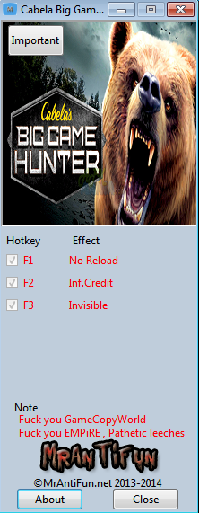 Cabela Big Game Hunter Pro Hunts V1.00 Trainer +3 MrAntiFun