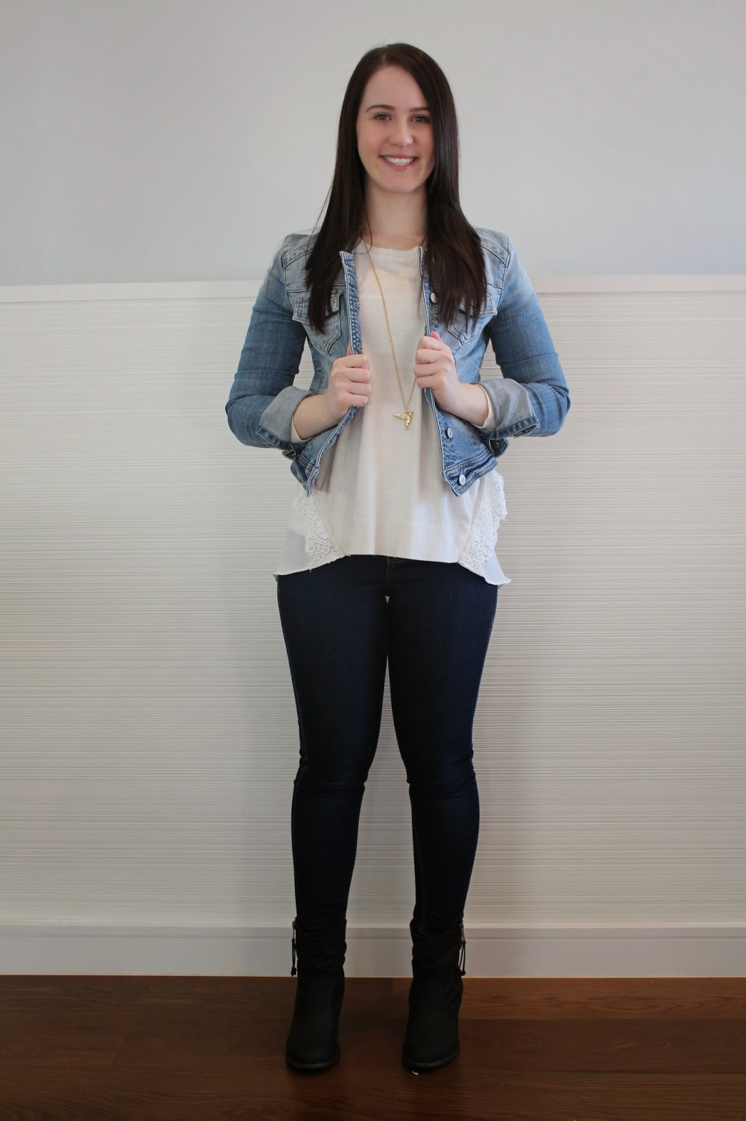 spring outfit, melbourne outfit, weekend outfit, everyday outfit, college outfit, uni outfit, topshop petite jeans, denim jacket, black booties, cream knit with lace, bird long necklace, petite girl outfit