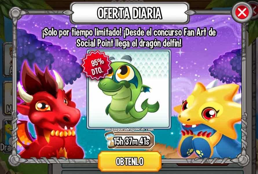 imagen de la oferta especial del dragon delfin de dragon city ios y android