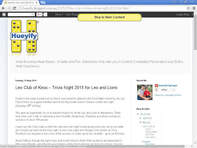 screenshot showing the Hueyify Blog with the tab skip-to-content showing