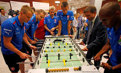 Czech National Footballers Playing Foosball (Table Football)