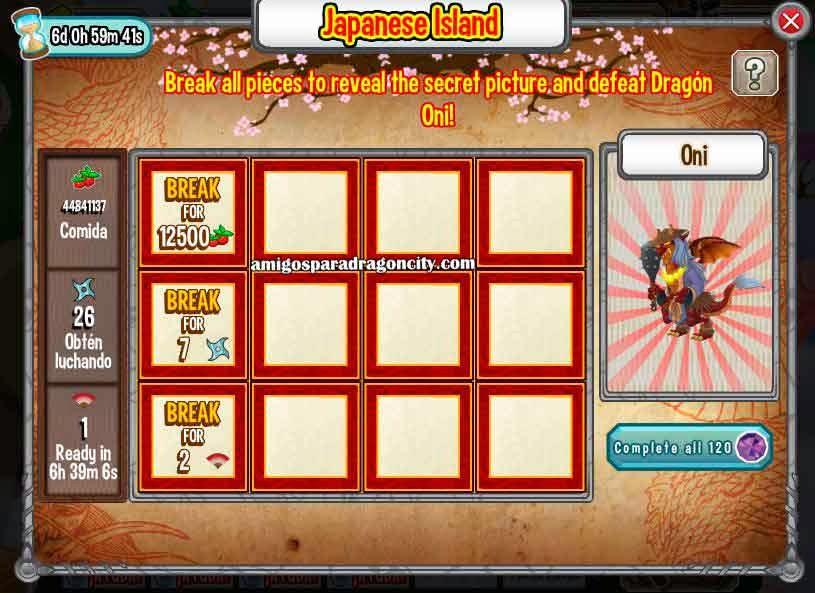 imagen de las tareas del oni de la isla dojo de dragon city de facebook