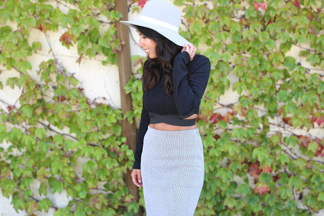 how to wear crop top and skirt, janessa leone hat, fall outfit