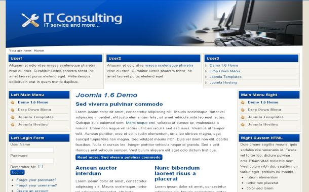 Free Blue IT Technology Joomla Theme Template