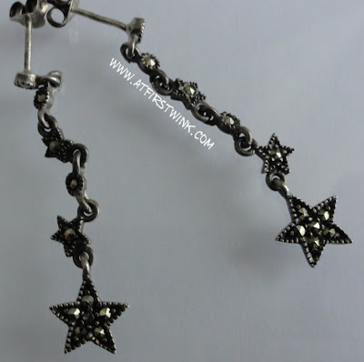 black metallic star earrings