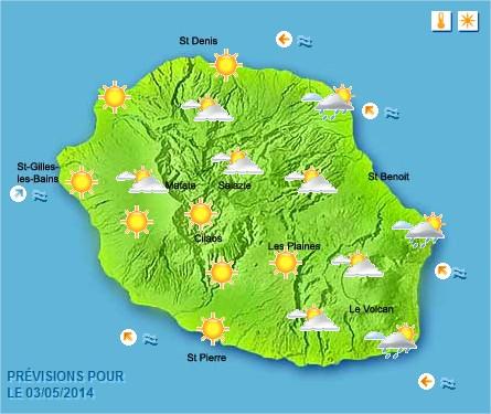 Prévisions météo Réunion pour le Samedi 03/05/14