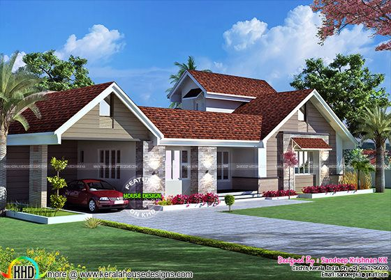 Sloping roof single floor house with stair room