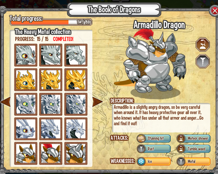 Armadillo Dragon Information in Dragon City