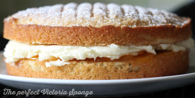 Victoria sponge with vanilla buttercream icing and apricot jam