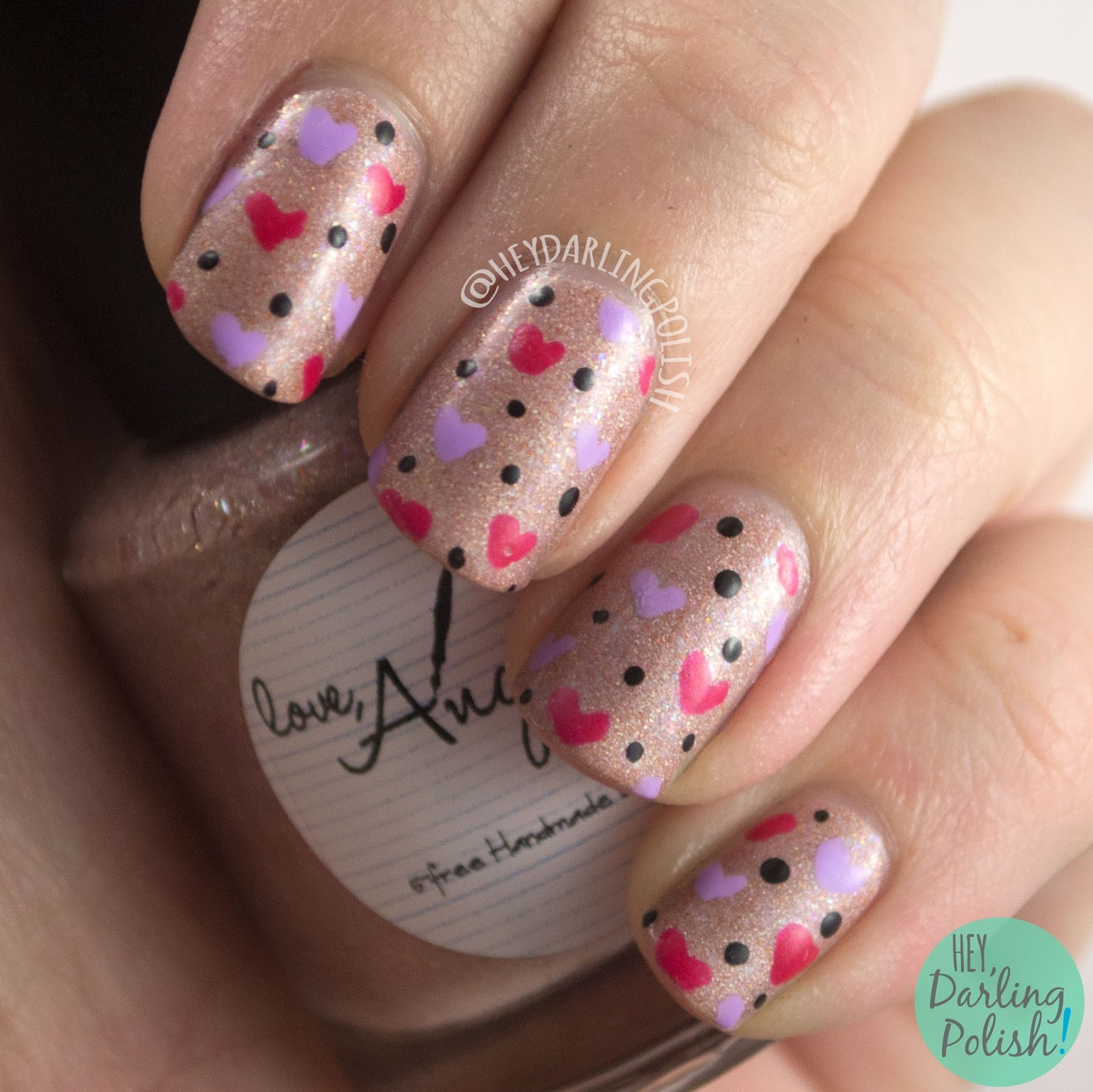 nails, nail art, nail polish, valentine's, hearts, hobby polish bloggers, hey darling polish, indie polish,