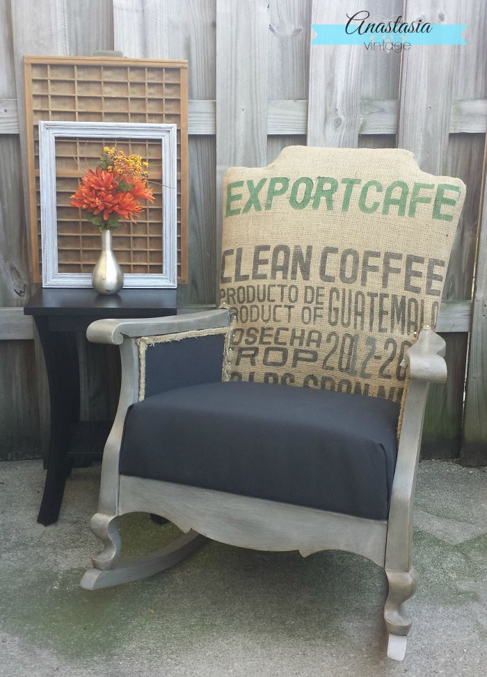 Give an old dingy rocking chair a modern industrial makeover with a burlap coffee sack and Restoration Hardware style finish | Anastasia Vintage