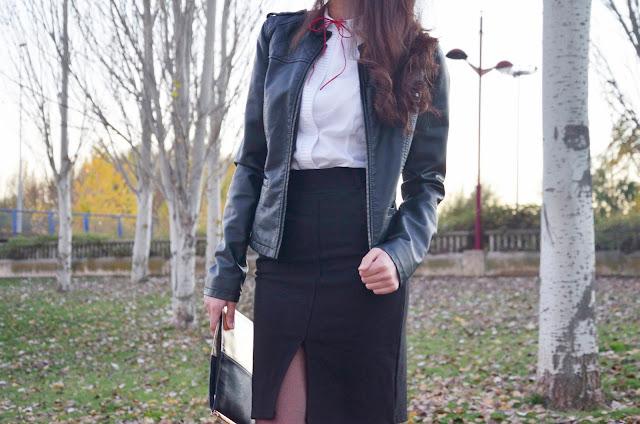 falda-lápiz-skirt-red-stilettos-blusa-lazo-blogger