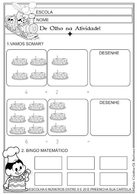 Atividade Matemática Soma e Bingo