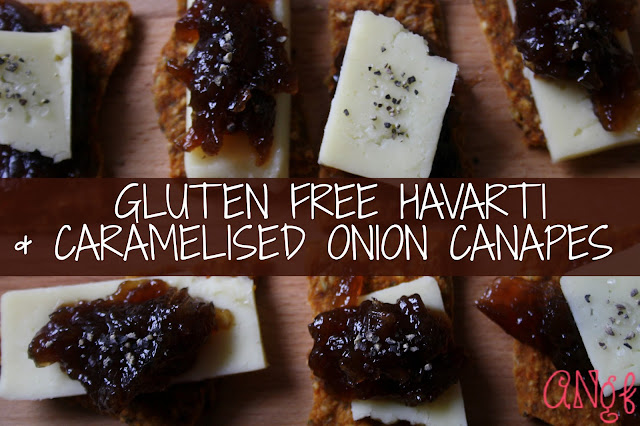 Gluten Free Havarti and Caramelised Onion Canapes from Anyonita-nibbles.co.uk