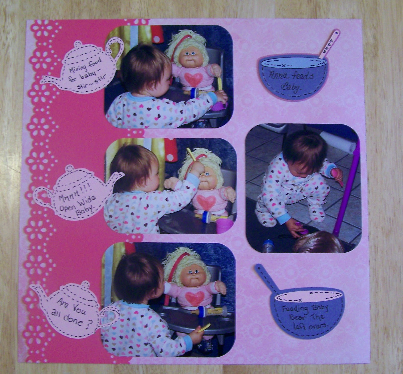 Scrapbook paper cooking - In This Layout I Captured Her Feeding Her Baby And Baby Bear Our Yorkie And Cooking Dinner Having A Tea Party I Just Loved All The Expressions On Her