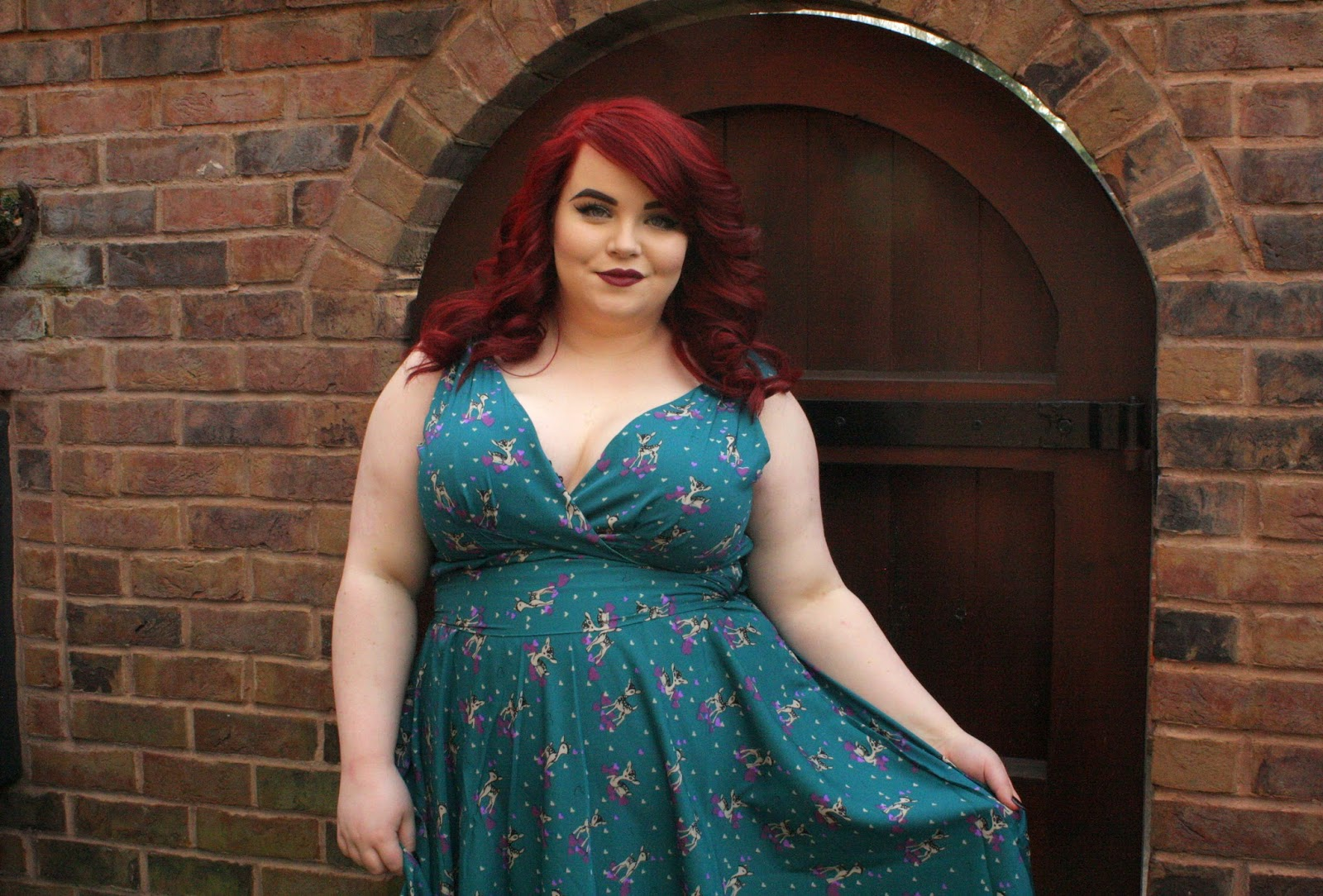 BBW Couture'a Teal Deer Design 1950s Vintage Party Dress, georgina grogan, shemightbeloved.