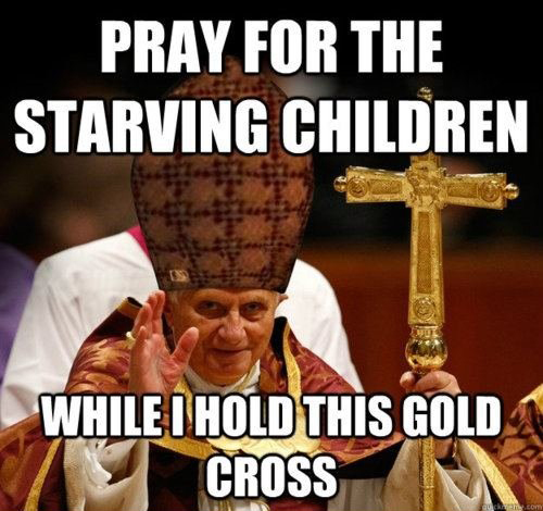 Funny Pope With Golden Throne