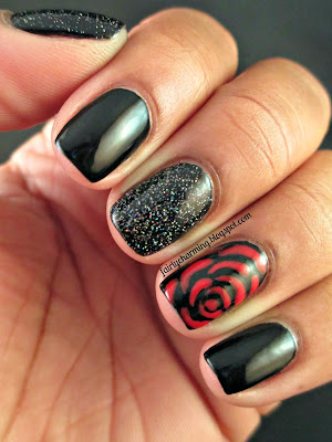 Rimmel Black Satin, China Glaze, Hey Sailor, Fairy Dust, red rose, holo glitter, black and red, romantic, love, nails, nail art, nail design, mani