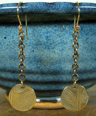 Libellula Jewelry:  Etched brass chain earrings