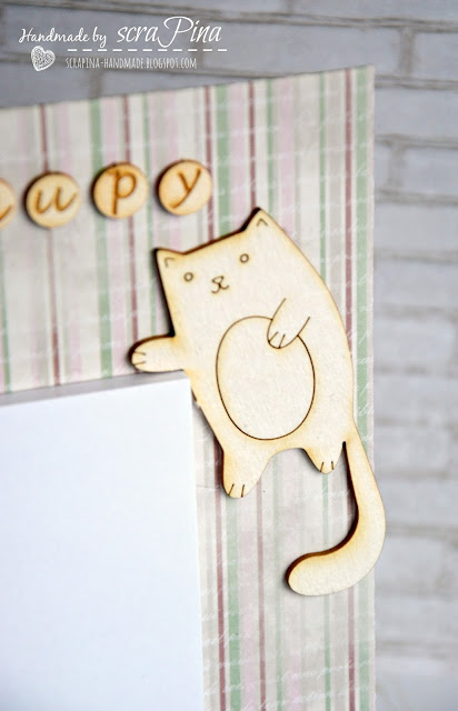 magnes z notesem na lodówkę ręcznie robiony scrapina handmade scrapbooking magnesownik notatnik tekturki koty i kropka