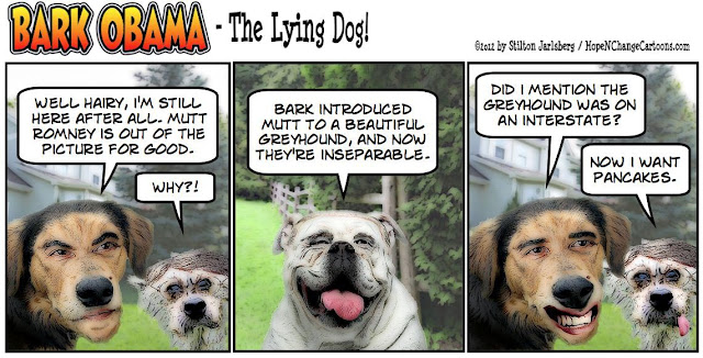 bark obama, mutt romney, hairy reid, dogs, obama jokes, stilton jarlsberg, hope and change