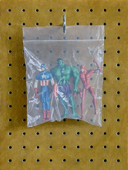 17-Captain-America-Hulk-Flash-Simon-Monk-Bagged-Superheroes-in-Painting-www-designstack-co