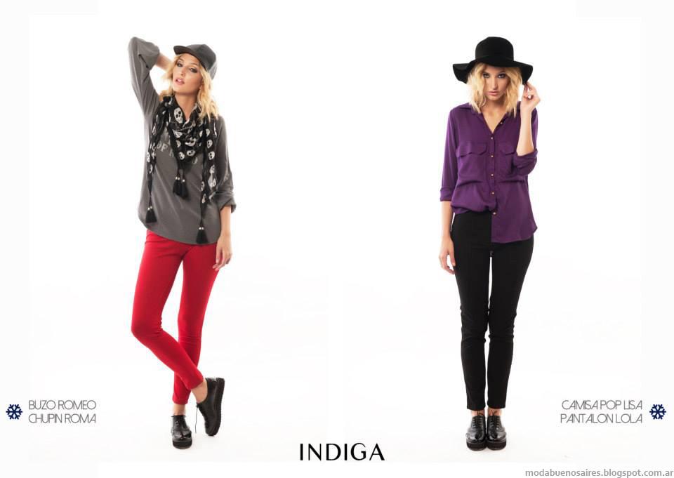 Camisas y blusas de moda otoño invierno 2014 colección de la marca Indiga Argentina.