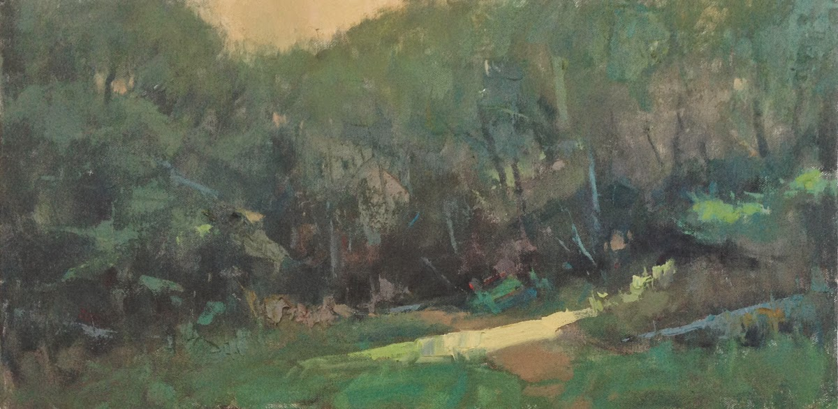 Impressionist landscape painting of a sliver of light at the edge of the woods at twilight, by artist Steve Allrich.