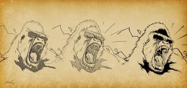 Gorila mono king kong grito boceto sketch