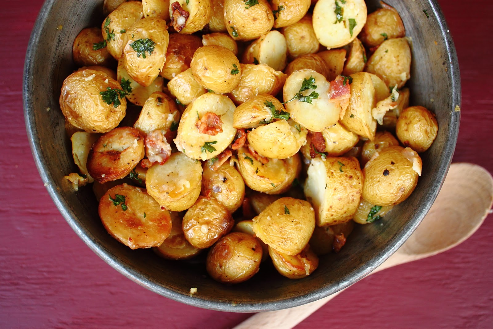 melted bacon is crispy and potatoes are evenly browned remove potatoes ...
