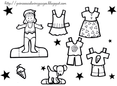 Princess Paper Doll Coloring Pages Princess Paper Doll Wardrobe
