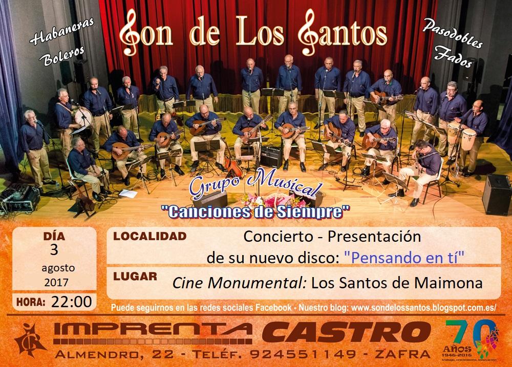 Concierto en el Teatro-Cine Monumental de Los Santos de Maimona 3/08/2017