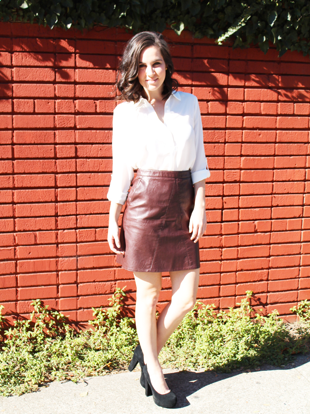 Faux Leather Skirt + White Blouse