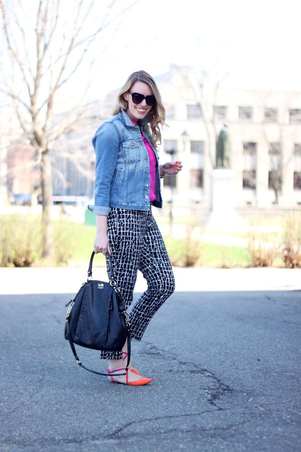 Joe Fresh Silk Blouse, Printed Trousers, Coach Lindsay Bag, Zara Colorblock Flats