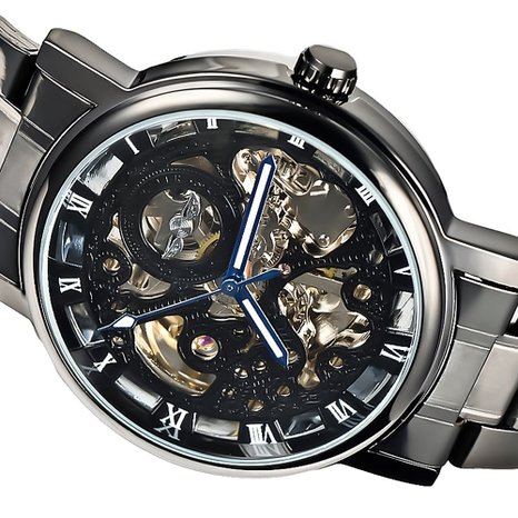 Mudder® Analog Roman Skeleton Transparent Fashion Men's Black Auto Mechanical Watch