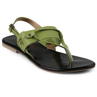 Sandal Kulit Wanita Model Japit Flat Tolliver Warna Hijau