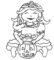 little pink princess sitting with pumpkin for scrapbook digi stamp