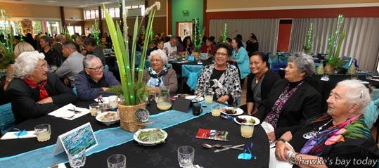 L-R: Rehia Hanara, Omahu, Marsley Northover, Omahu, Huia Matairangi, Haumoana, Waipa Te Rito, Omahu, Denise Keelan, Napier, Kani Hakiwai, Omahu, Pauline Tangiora, Mahia, at the 21st birthday celebration of Te Ara o Tawhaki, the marae at EIT Eastern Institute of Technology, Taradale, Napier. photograph