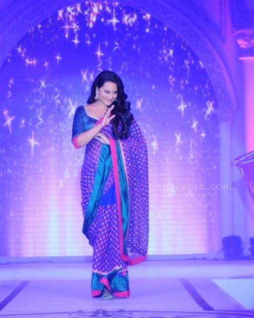 Sonakshi-sinha-Rajguru-blue-embroidery-saree