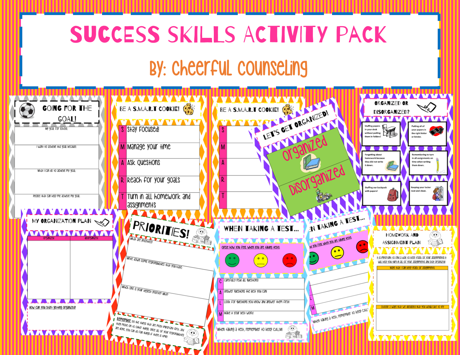cheerful counseling my tpt store it includes activities on products such as goal setting organization skills test taking priorities and keeping track