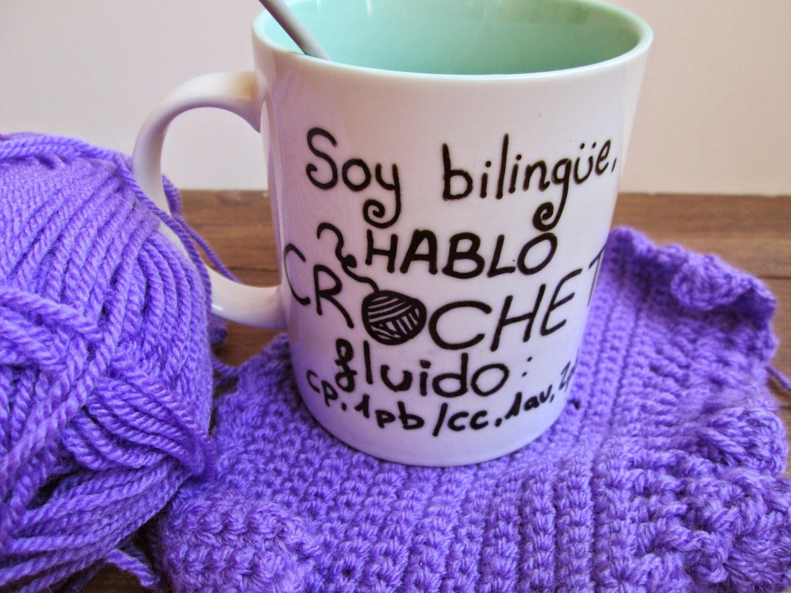 taza pintada personalizada crochet crochetera