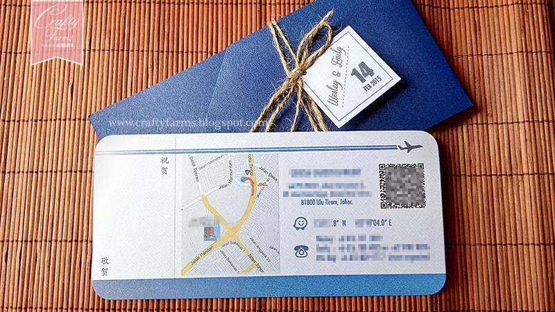 Chinese Version of Navy Blue Boarding Pass Wedding Card Singapore and Malaysia
